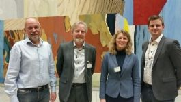 Fra v. Morten Ørsal Johansen (FrP), Eystein Ruud (NGF), Katrine Røed Meberg (NGF) og Sivert Bjørnstad (FrP)