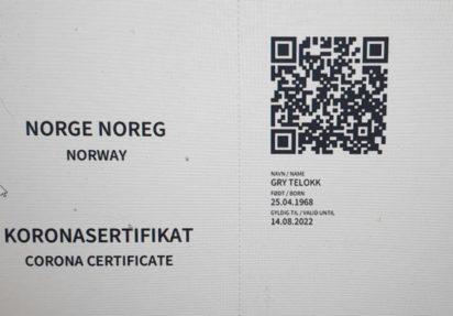 Norge slutter seg til EUs koronasertifikat 24. juni